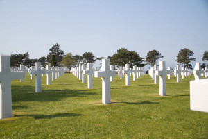 Overlooking Omaha Beach, the launching point of the U.S. invasion of Normandy American Cemetery at Colleville